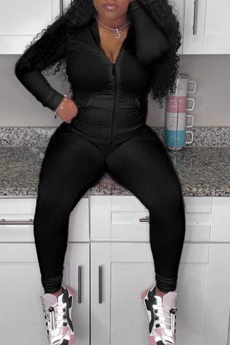 front_Zipper  Black Pants Sets And