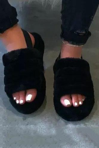 back_Plain Black Slippers