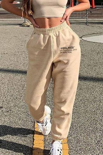 front_Garnet Casual Khaki Sweatpants