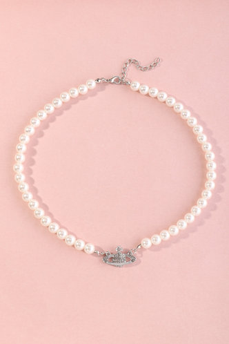front_Hortensia Elsa White Faux Pearl Charm Necklace