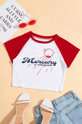 back_Laurel Elaine White And Red Crop Tee