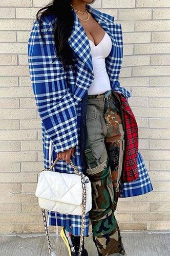 front_Sheila Evangeline Blue Plaid Print Longline Coat
