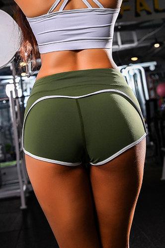 back_Catharine Army Green Activewear Shorts