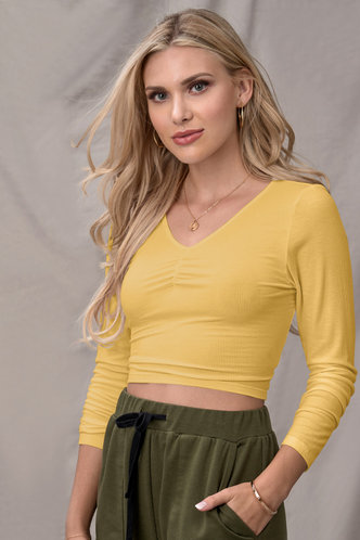front_Confidence Is Key Yellow Long Sleeve Top