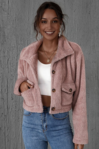 front_Heartbeat Dusty Pink Teddy Jacket