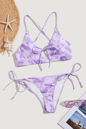 back_Scoop Neck Tie Dye Purple Tie Dye Bikini Sets