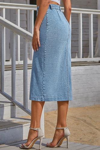 back_Kamilia Light Blue Denim Skirt