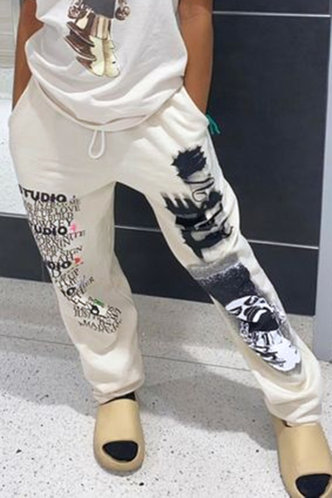 front_Mid Waist Letter Drawstring Black And White Sweatpants