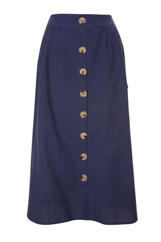front_High Waist Solid Buttons Navy Blue Skirts
