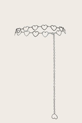 back_Tammy Edith Sliver Heart Decor Chain Belt