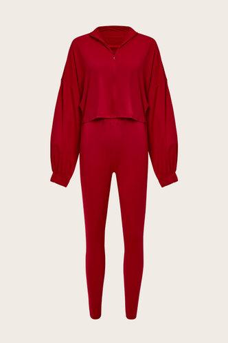 back_Plain Zipper Elastic Band Red Pants Set