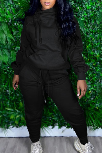 front_Pocket Drawstring Pullover Black Sweatshirt Sets