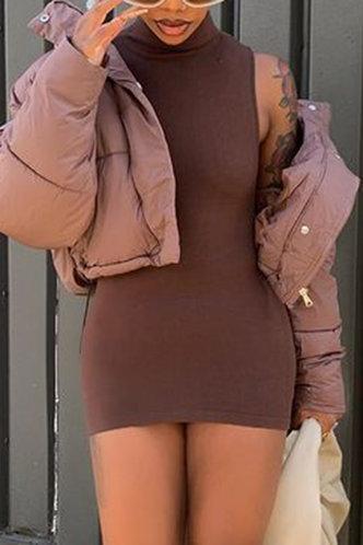 back_Solid Color Brown Above Knee Dress