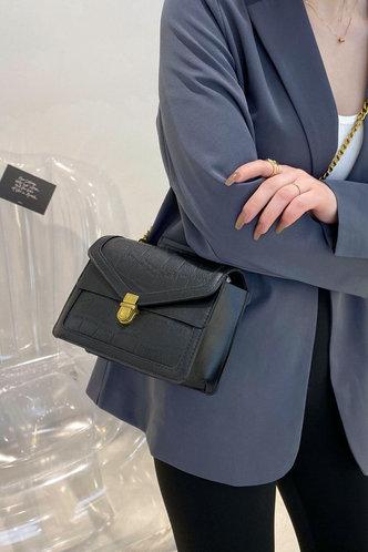 back_Casual Vacation Plain Metallic Button Black Crossbody Bags