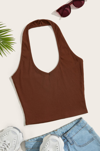 front_Dahlia Brown Halter Top