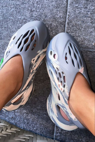 back_Flat Grey And Nude Sandals