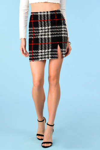 front_Headlands Black And White Plaid Skirt