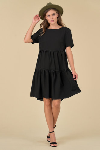 front_Meta Black Midi Dress