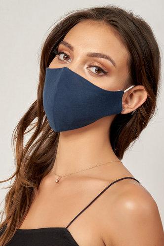 back_Non-medical Solid Color Cotton Reusable Face Mask Dark Navy