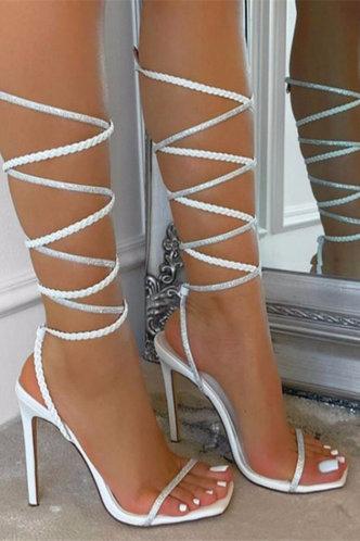 back_Open Toe High Heel White Sandals