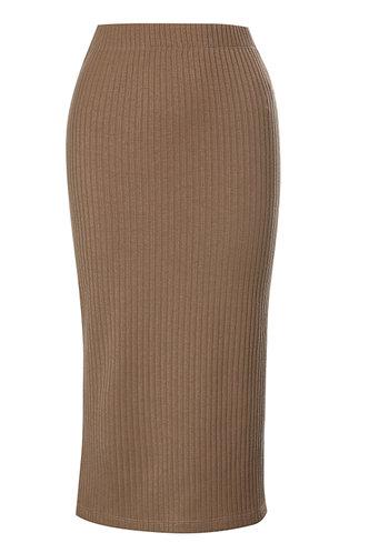 front_High Waist Solid Rib Knit Khaki Skirts