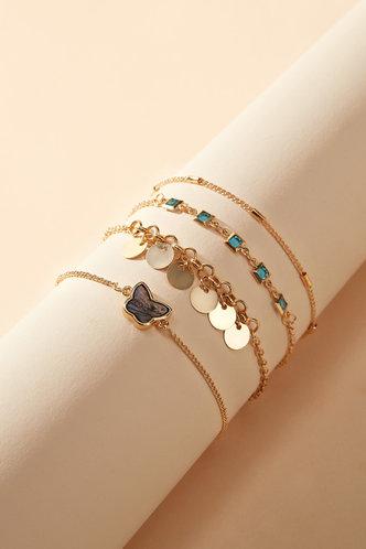 back_Sophie Eleanore Gold Butterfly Charm Bracelet 4pcs