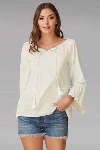 front_Garland Ivory Long Sleeve Top