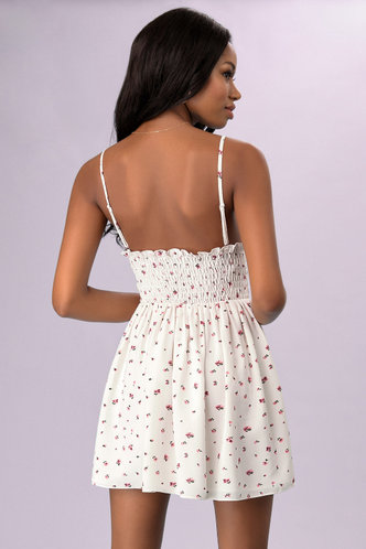 back_Daily Shopping Vacation White Floral Print Ditsy Floral Dresses