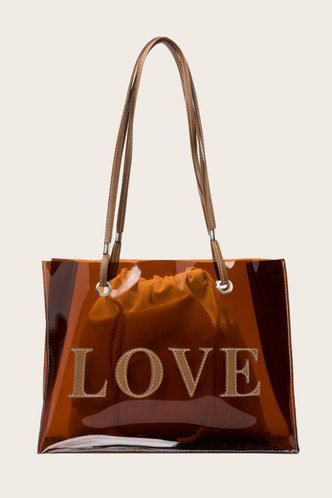 front_Letter Print Brown Tote Bags