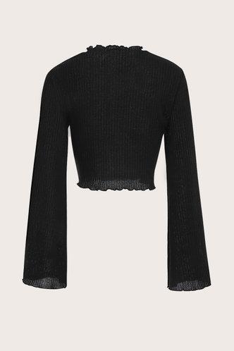 back_Colette Black Rib Knit Crop Top
