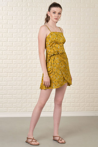 back_Vacay Ready Mustard Yellow Floral Print Mini Dress