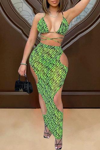 front_Rose Esther Green Zebra Print Bikini
