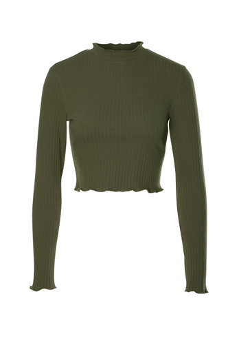 front_Cross Country Army Green Crop Top