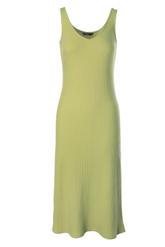 front_Fantasy Yellow Green Midi Dress