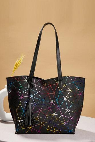 front_Tatum Elva Black Geo Print Tote Bag