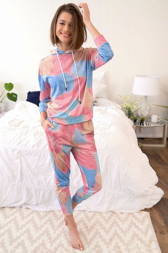 front_Down To The Wire Multicolor Hooded PJ Set