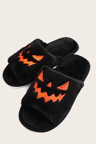 back_Colorblock  Flat Black Slippers