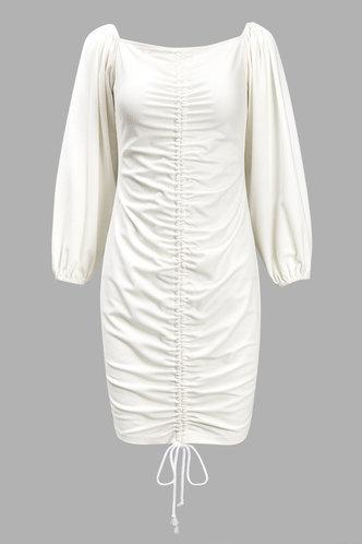 front_Agatha Eden White Ruched Dress