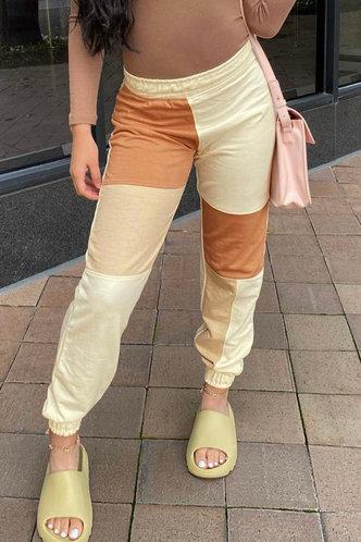 front_Mid Waist   Colorblock Sweatpants