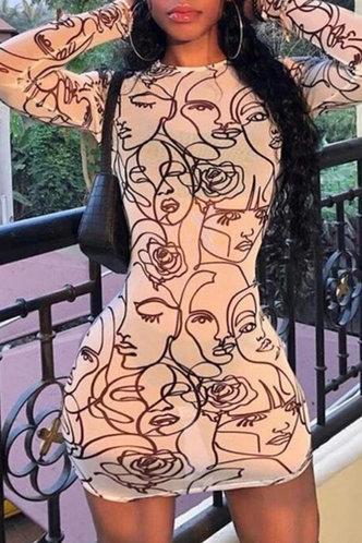 front_Kama Emily Figure Graphic Mesh Bodycon Dress