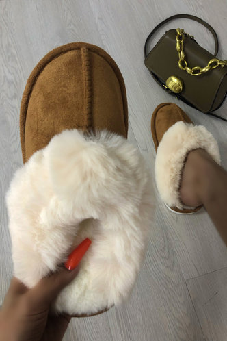 front_Wilhelmina Evangeline Khaki Plush Slippers