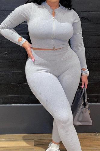 back_Zipper Up Light Grey Plus Size Pants Sets