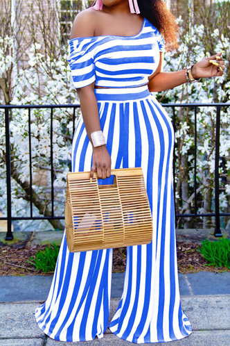 front_Rita Erica White And Blue Striped Plus Set