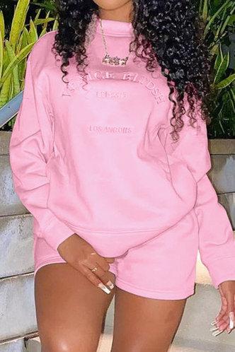 back_Casual Crew Neck Letter Print  Pink Sweatshirts & Hoodies