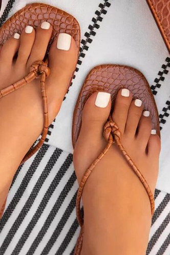 front_Cora Hakil Brown Thong Sandals