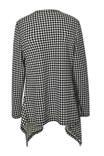 back_Adela Edith Black And White Houndstooth Cardigan