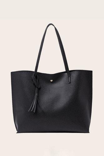 front_Tessie Elvira Black Tote Bag