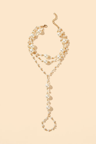 back_Katy Ella Gold Faux Pearl Charm Toe Ring Anklet