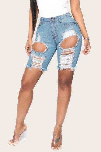 back_Sonia Elma Wash Blue Ripped Shorts