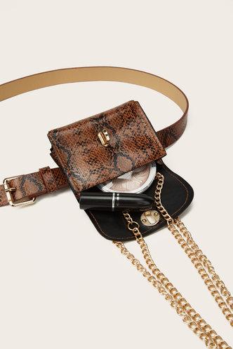 back_Heloise Land Brown Snakeskin Print Bum Bag